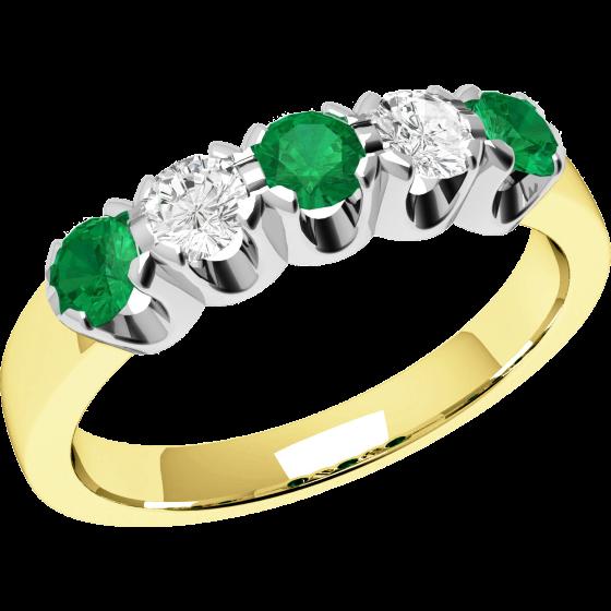 Smaragd und Diamant Ring für Dame in 18kt Gelbgold und Weißgold mit 5 Steinen, Eternity Ring-img1