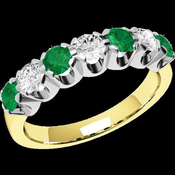 Smaragd und Diamant Ring für Dame in 9kt Gelbgold und Weißgold mit 7 Steinen, Eternity Ring-img1