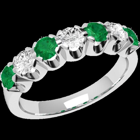 Smaragd und Diamant Ring für Dame in 18kt Weißgold mit 7 Steinen Eternity Ring-img1