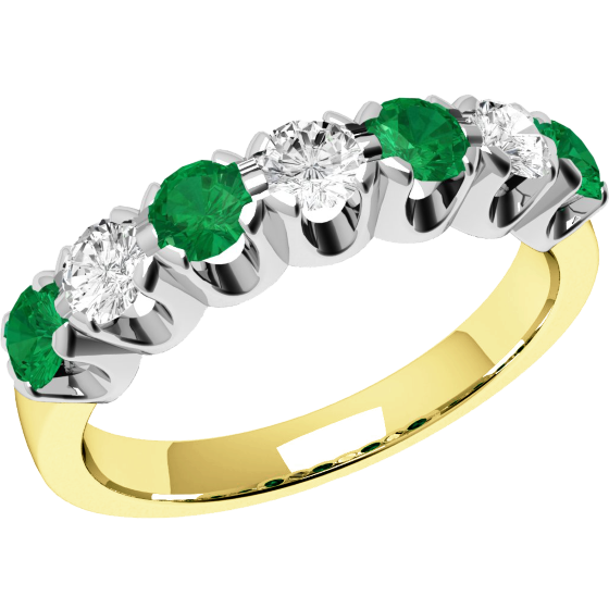 Smaragd und Diamant Ring für Dame in 18kt Gelbgold und Weißgold mit 7 Steinen, Eternity Ring-img1