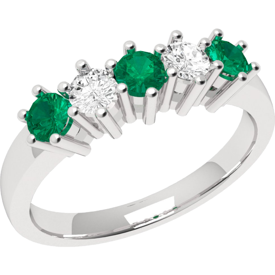 Emerald and Diamond Eternity Ring for Women in 9ct white gold with 3 round emeralds and 2 round brilliant cut diamonds-img1