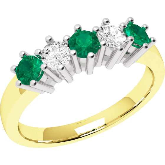 Emerald and Diamond Eternity Ring for Women in 9ct yellow and white gold with 3 round emeralds and 2 round brilliant cut diamonds-img1