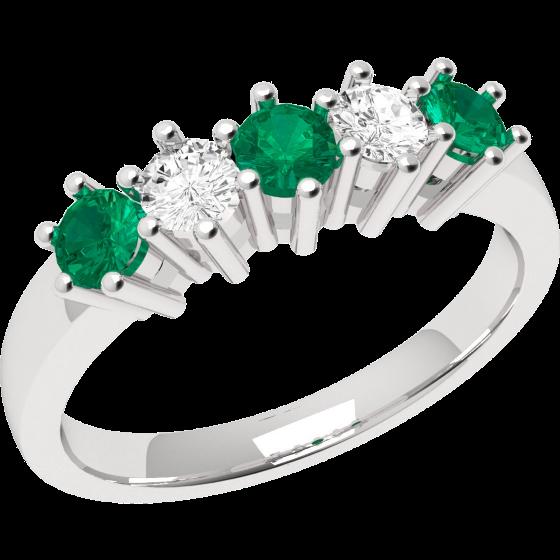 Smaragd und Diamant Ring für Dame in 18kt Weißgold mit 3 runden Smaragden und 2 runden Diamanten, Eternity Ring-img1