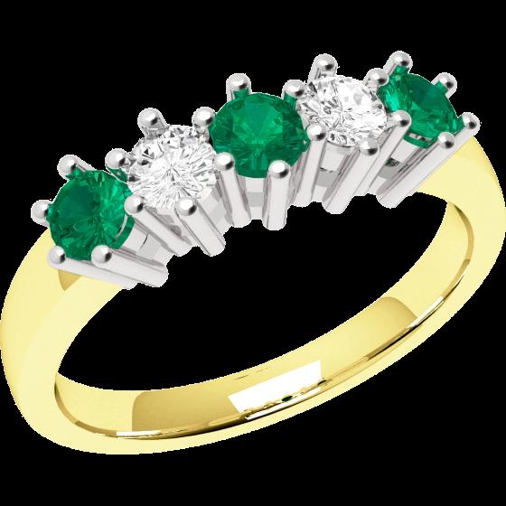 Smaragd und Diamant Ring für Dame in 18kt Gelbgold und Weißgold mit 3 runden Smaragden und 2 runden Diamanten, Eternity Ring-img1