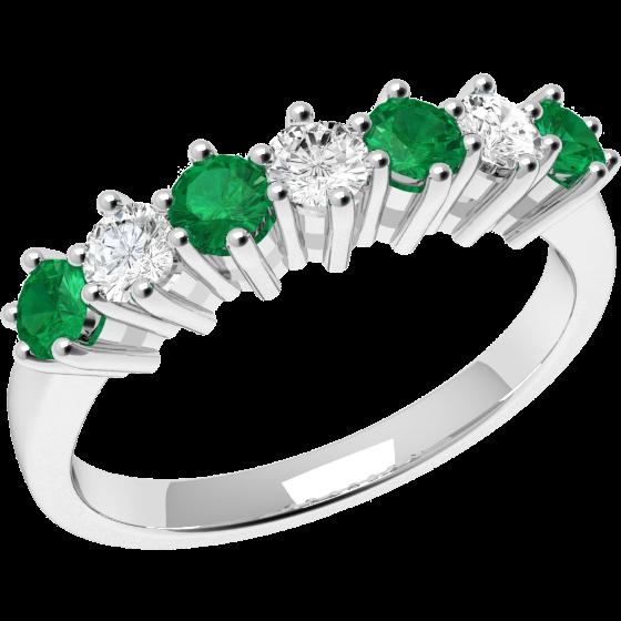 Smaragd und Diamant Ring für Dame in 18kt Weißgold mit 7 Steinen-img1