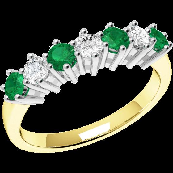 Smaragd und Diamant Ring für Dame in 18kt Gelbgold und Weißgold mit 7 Steinen-img1