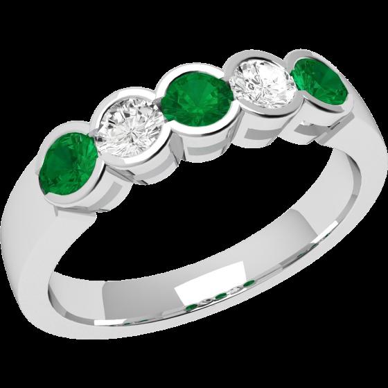 Inel Semi Eternity Dama Aur Alb 18kt cu 3 Smaralde Rotunde si 2 Diamante Rotund Briliant-img1