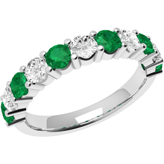 Emerald and Diamond Eternity Ring for Women in 9ct white gold with 6 round emeralds and 5 round brilliant cut diamonds-img1