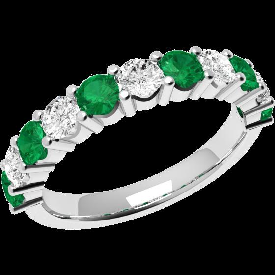 Smaragd und Diamant Ring für Dame in 18kt Weißgold mit 11 Steinen-img1