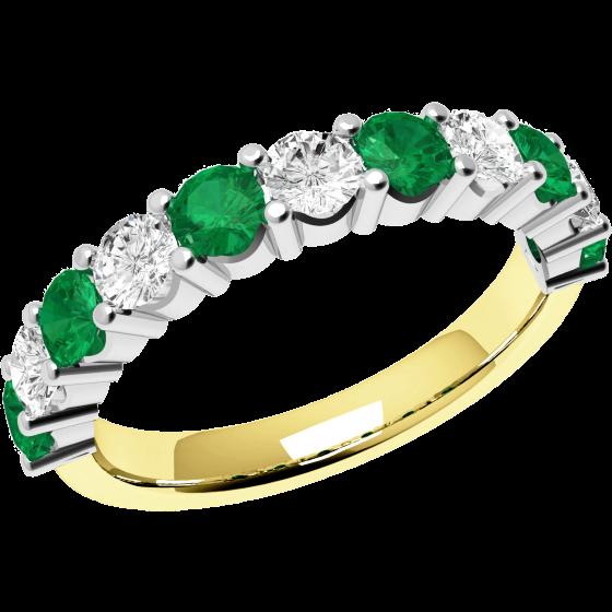 Smaragd und Diamant Ring für Dame in 18kt Gelbgold und Weißgold mit 11 Steinen-img1