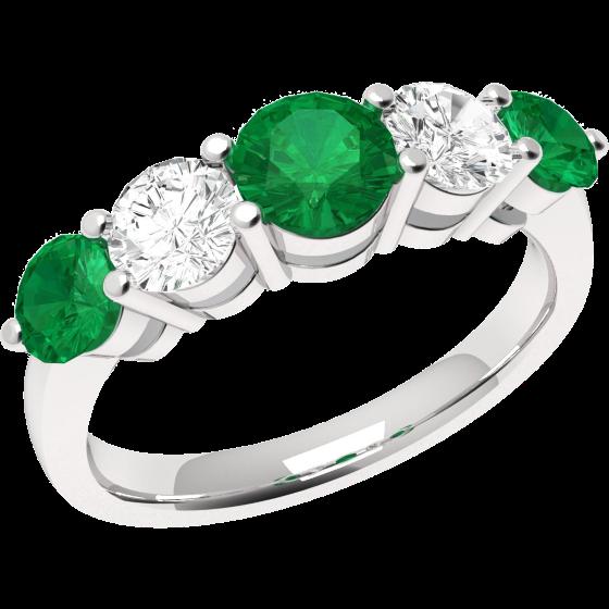 Smaragd und Diamant Ring für Dame in 18kt Weißgold mit 5 runden Steinen-img1
