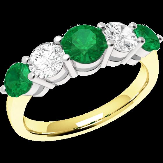 Smaragd und Diamant Ring für Dame in 18kt Gelbgold und Weißgold mit 5 runden Steinen-img1