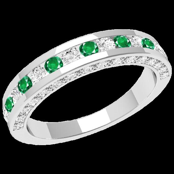 Smaragd und Diamant Ring für Dame in 18kt Weißgold mit runden Smaragden und Brillant Schliff Diamanten in der Mitte und Diamanten auf den Seiten-img1