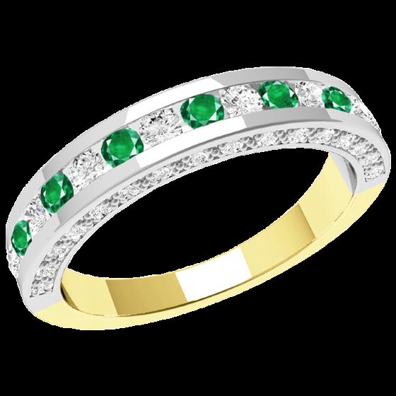Smaragd und Diamant Ring für Dame in 18kt Gelb & Weißgold mit runden Smaragden und Brillant Schliff Diamanten in der Mitte und Diamanten auf den Seiten-img1