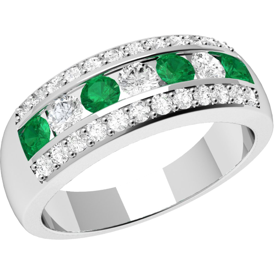 Smaragd und Diamant Ring für Dame in 18kt Weißgold mit runden Smaragden und Diamanten in Kanal und Krappenfassung-img1