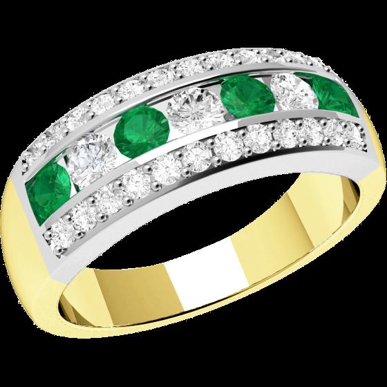 Smaragd und Diamant Ring für Dame in 18kt Gelbgold und Weißgold mit runden Smaragden und Diamanten in Kanal und Krappenfassung-img1