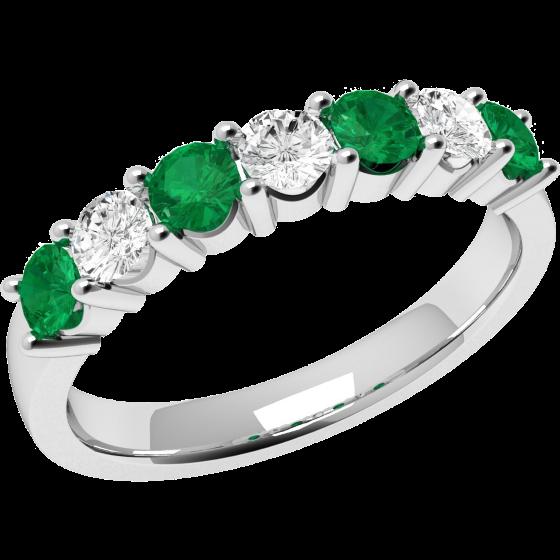 Smaragd und Diamant Ring für Dame in 9kt Weißgold mit 7 Steinen in Krappenfassung-img1