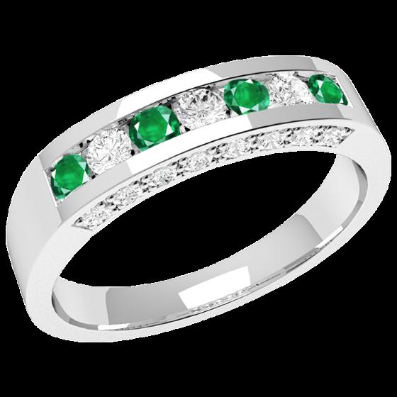 Smaragd und Diamant Ring für Dame in 18kt Weißgold mit Smaragden und Diamanten in Kanal und Krappenfassung-img1