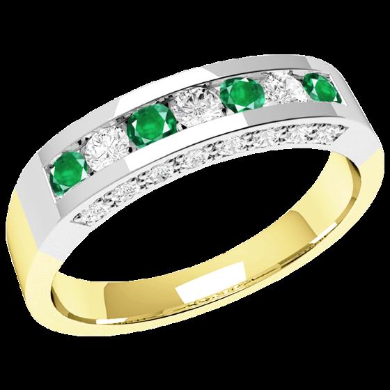 Smaragd und Diamant Ring für Dame in 18kt Gelbgold und Weißgold mit Smaragden und Diamanten in Kanal und Krappenfassung-img1
