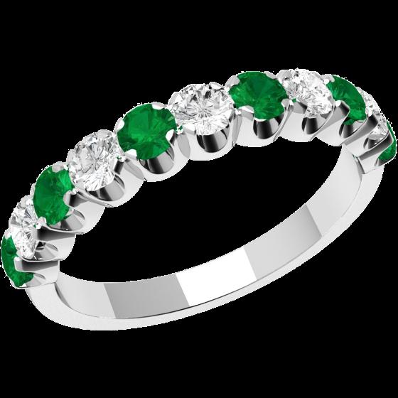 Smaragd und Diamant Ring für Dame in 18kt Weißgold mit 11 Steinen in Krappenfassung-img1