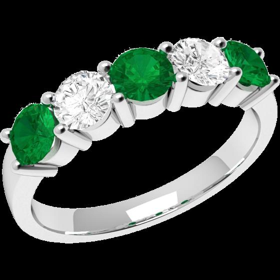 Smaragd und Diamant Ring für Dame in 18kt Weißgold mit 5 Steinen in Krappenfassung-img1