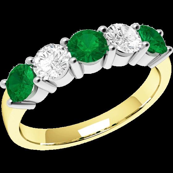 Smaragd und Diamant Ring für Dame in 18kt Gelbgold und Weißgold mit 5 Steinen in Krappenfassung-img1