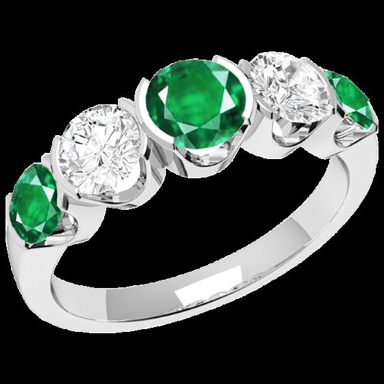 Smaragd und Diamant Ring für Dame in 18kt Weißgold mit 3 runden Smaragden und 2 runden Brillanten in Semi-Zargenfassung-img1