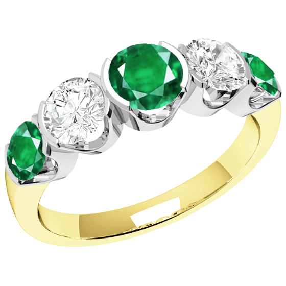 Smaragd und Diamant Ring für Dame in 18kt Gelbgold und Weißgold mit 3 runden Smaragden und 2 runden Brillanten in Semi-Zargenfassung-img1