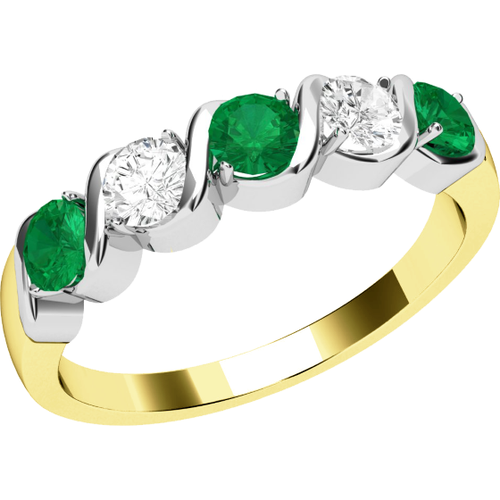 Emerald and Diamond Eternity Ring for Women in 9ct yellow and white gold with 2 round brilliant cut diamonds and 3 round emeralds-img1