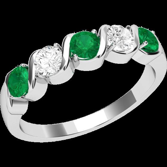 Smaragd und Diamant Ring für Dame in 18kt Weißgold mit 5 Steinen-img1