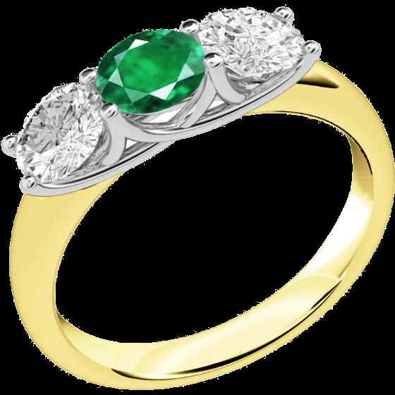 Smaragd und Diamant Ring für Dame in 18kt Gelbgold und Weißgold mit 2 runden Brillanten und einem runden Smaragd-img1