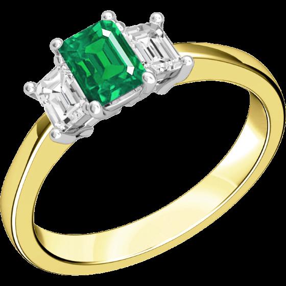 RDM388YW - 18kt Gelb- und Weissgold Ring mit 2 Smaragd-Schliff Diamanten und einem Smaragd-Schliff Smaragd in der Mitte, alle in Krappenfassung-img1