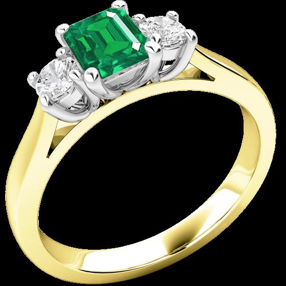 Smaragd und Diamant Ring für Dame in 18kt Gelbgold und Weißgold mit einem Smaragd Schliff Smaragd und 2 runden Brillanten-img1