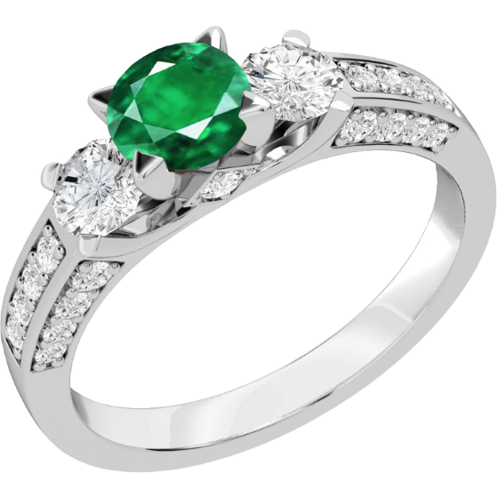 Smaragd und Diamant Ring für Dame in 18kt Weißgold mit einem runden Smaragd in der Mitte & runden Diamanten auf beiden Seiten und auf den Schultern-img1