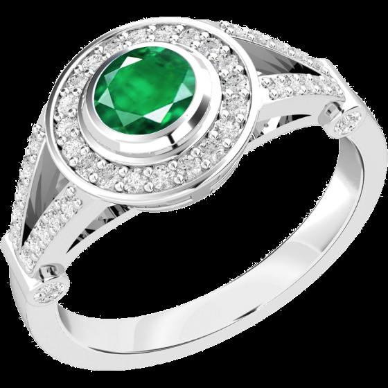 Smaragd und Diamant Ring für Dame in 18kt Weißgold mit einem runden Smaragd in Zargenfassung und runden Brillanten in Krappenfassung-img1