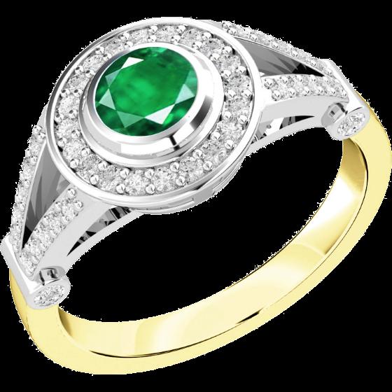 Smaragd und Diamant Ring für Dame in 18kt Gelbgold und Weißgold mit einem runden Smaragd in Zargenfassung und runden Brillanten in Krappenfassung-img1