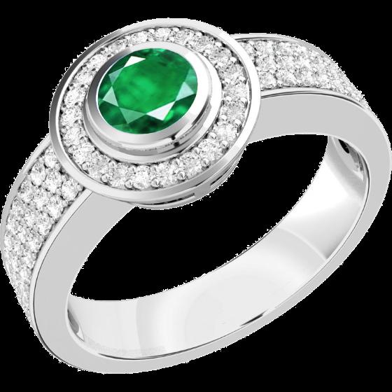 Smaragd und Diamant Ring für Dame in 18kt Weißgold mit einem zentralen runden Smaragd umgeben von kleinen runden Brillanten-img1
