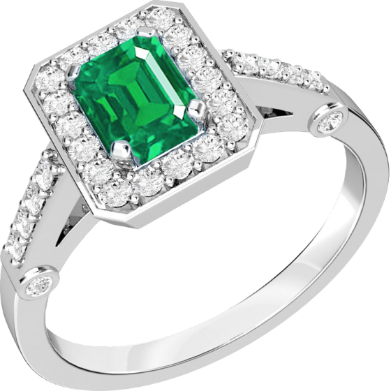 Smaragd und Diamant Ring für Dame in 18kt Weißgold mit einem Smaragd Schliff Smaragd in der Mitte umgeben von runden Brillanten-img1