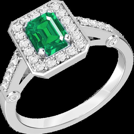 Inel cu Smarald si Diamant Cluster Dama Aur Alb 18kt cu un Smarald Taietura Smarald si Diamante Mici Rotund Briliant-img1