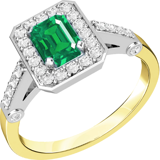 Smaragd und Diamant Ring für Dame in 18kt Gelbgold und Weißgold mit einem Smaragd Schliff Smaragd in der Mitte umgeben von runden Brillanten-img1
