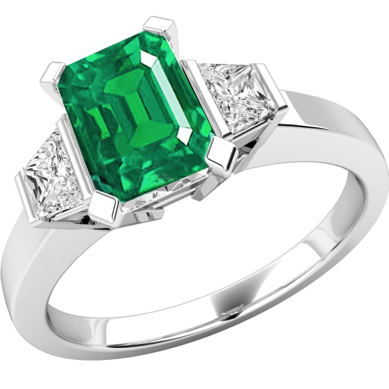 Smaragd und Diamant Ring für Dame in 18kt Weißgold mit einem achteckigen Smaragd und 2 Trapezschliff Diamanten-img1