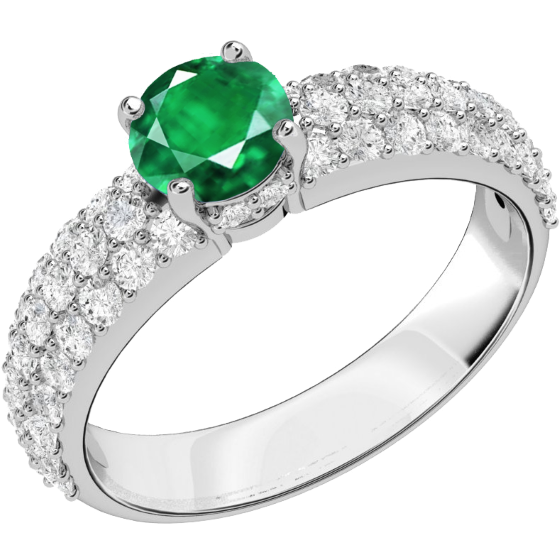 Smaragd und Diamant Ring für Dame in 18kt Weißgold mit einem runden Smaragd in Krappenfassung und Brillanten in Pavefassung auf den Schultern-img1