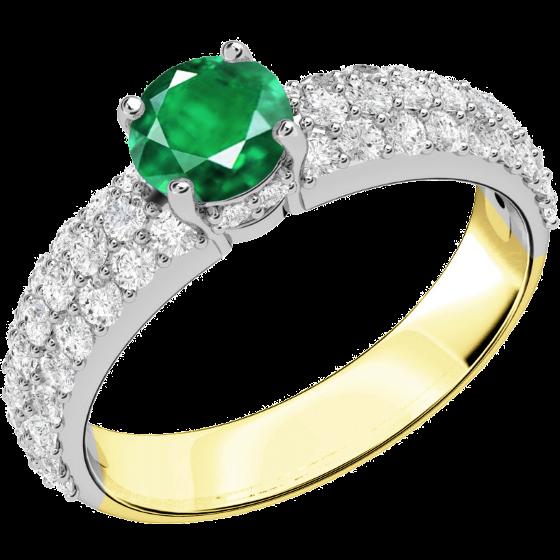 Smaragd und Diamant Ring für Dame in 18kt Gelbgold und Weißgold mit einem runden Smaragd in Krappenfassung und Brillanten in Pavefassung auf den Schultern-img1