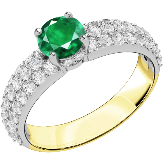 Inel cu Smarald si Diamant Dama Aur Galben si Aur Alb 18kt cu un Smarald Rotund Setat cu Gheare si Diamante Rotund Briliant in Setare Pavata-img1
