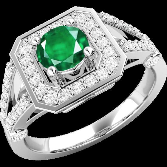 Smaragd und Diamant Ring für Dame in 18kt Weißgold mit einem runden Smaragd in der Mitte umgeben von kleinen Brillanten-img1