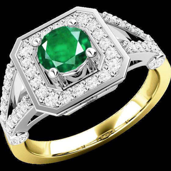 Smaragd und Diamant Ring für Dame in 18kt Gelbgold und Weißgold mit einem runden Smaragd in der Mitte umgeben von kleinen Brillanten-img1
