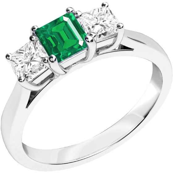 RDM462W-Inel cu Smarald si Diamant Dama Aur Alb 18kt cu un Smarald Taietura Smarald si 2 Diamante Forma Princess in Setare Gheare-img1