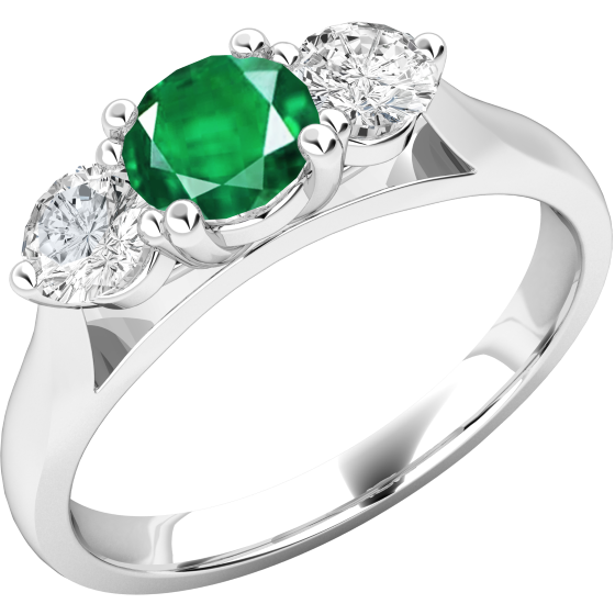 Smaragd und Diamant Ring für Dame in 18kt Weißgold mit einem runden Smaragd und Brillanten auf beiden Seiten-img1