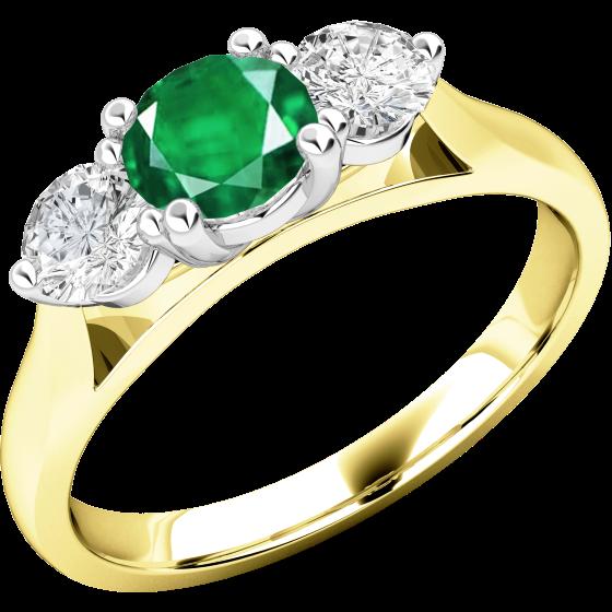 Smaragd und Diamant Ring für Dame in 18kt Gelbgold und Weißgold mit einem runden Smaragd und Brillanten auf beiden Seiten-img1