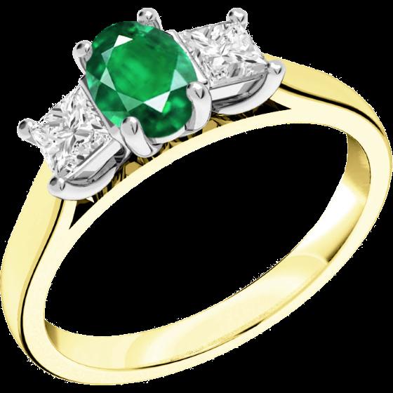 Smaragd und Diamant Ring für Dame in 18kt Gelbgold und Weißgold mit einem ovalen Smaragd und 2 Princess Schliff Diamanten-img1